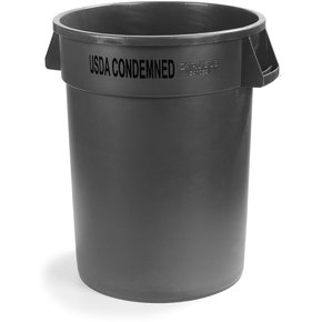341032USDA04 - Bronco™ Round USDA Condemned Waste Container 32 Gallon - USDA Condemned - Yellow