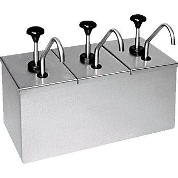 """386230IB - Insulated Topping Rail w/3 ea SS Pumps & 2 Large Ice Packs 15-7/8"""", 7-1/2"""", 13"""" - Stainless Steel"""
