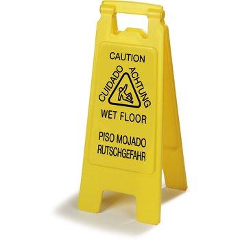 "3690904 - Flo-Pac® Economy Wet Floor Sign (English/Spanish/German) 25""h x 11""w - Yellow"