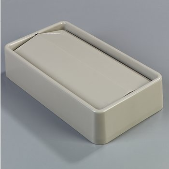 342024-806 - TrimLine™ Rectangle Waste Container Trash Can Lid with Swing Top 15 and 23 Gallon - Beige