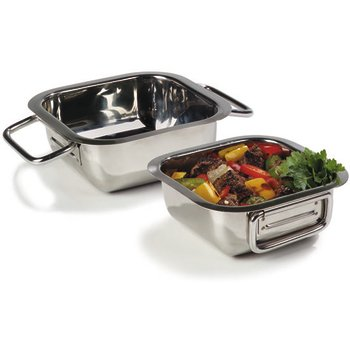 "609083 - Square Display Dish 9.1875"" - Stainless Steel"