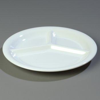 "3300002 - Sierrus™ Melamine 3-Compartment Plate 10.5"" - White"