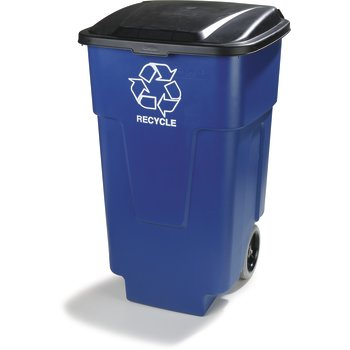 345050REC14 - Square RECYCLE Rolling Container with Hinged Lid 50 Gallon - Blue