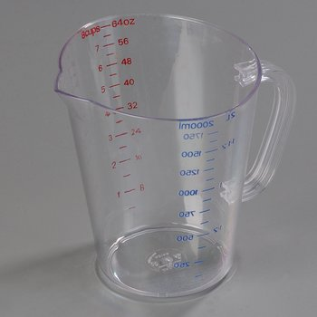 4314407 - Commercial  Measuring Cup 1/2 gal - Clear