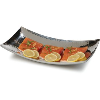 """609216 - Curved Tray w/Hammered Finish 15"""" x 8-1/2"""" - Stainless Steel"""