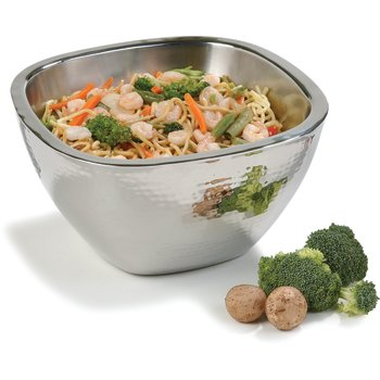 """609211 - Square Bowl w/Hammered Finish 3.5 qt, 10"""" - Stainless Steel"""