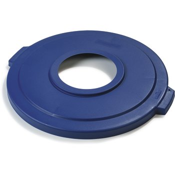 "341033REC14 - Bronco™ Round Recycle Lid with 8"" Receptacle 32 Gallon - Recycle - Blue"