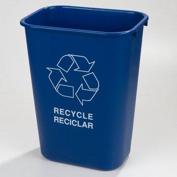 342941REC14 - Rectangle RECYCLE Wastebasket 41 Quart - Blue