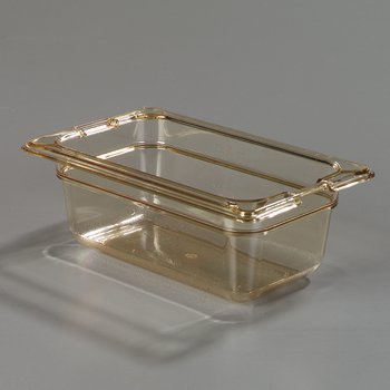 """10520-813 - TopNotch® Food Pan Banded Packs 2.5"""" DP 1/9 Size (3/st) - Amber"""