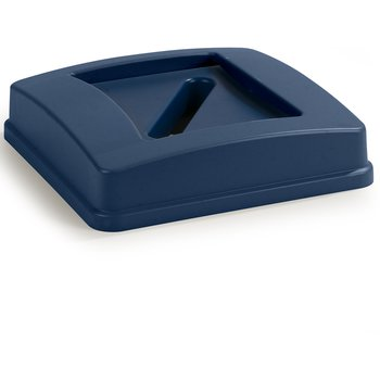 343937REC14 - Centurian™ Square RECYCLE Waste Container Lid with Paper Receptacle 35 and 50 Gallon - Blue