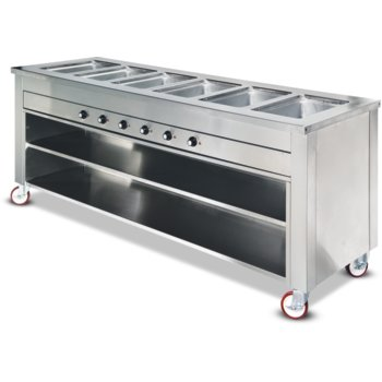 "DXDHF5LR - Dinexpress® ""L"" Shape Hot Food 5 Well Right 63""L x 55.25""D x 36""H - Stainless Steel"