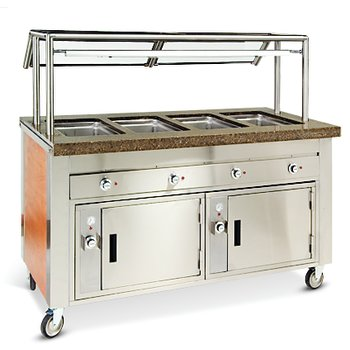 "DXDHF4 - Dinexpress® Hot Food Counter-4 Well 63"" L x 30"" D x 36"" H - Stainless Steel"