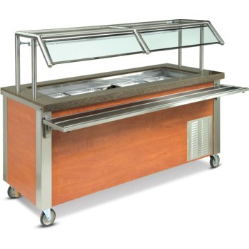 "DXDCF4 - Dinexpress® Cold Food Counter-4 Well w/ 5"" Deep Wells 63""L x 30""D - Stainless Steel"