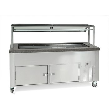 "DXDCF6NR - Dinexpress® Cold Food Counter (Ice Well) - 6 Well w/ 5"" Deep Ice Wells 91""L x 30""D - Stainless Steel"