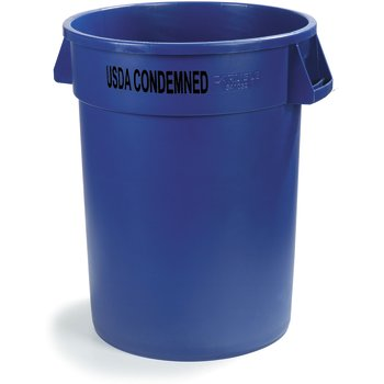 341032USDA14 - Bronco™ Round USDA Condemned Waste Container 32 Gallon - USDA Condemned - Blue