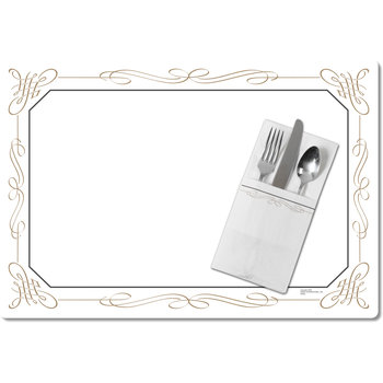 """DX5350Q - Filigree Traycover Size: Q w/ Straight Edge/Small Corner 13"""" x 19"""" (1000/cs)"""