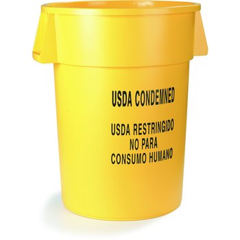 341044USD04 - Bronco™ Round USDA Condemned Waste Container 44 Gallon - USDA Condemned Eng/Esp - Yellow