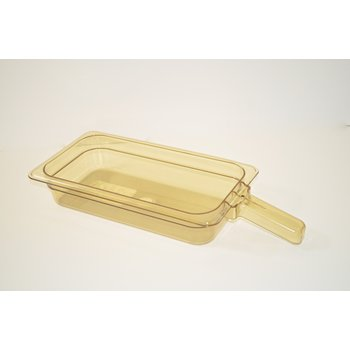 """30860H13 - StorPlus™ Food Pan HH With 1 Handle 2.5"""" DP 1/3 Size - Amber"""