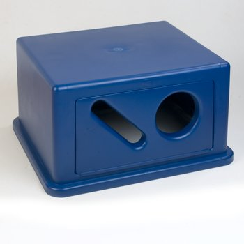 344057REC14 - Square RECYCLE Waste Container Hood with Can, Bottle and Paper Receptacle 56 Gallon - Blue