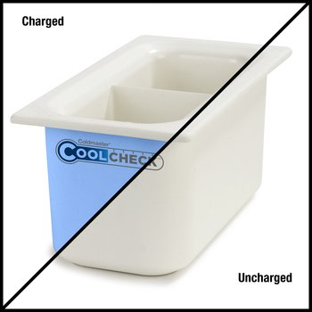 "CM1103C1402 - Coldmaster® CoolCheck 6"" D Third-size Divided Food Pan 3.4 qt  - White/Blue"