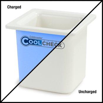 "CM1105C1402 - Coldmaster® CoolCheck 6"" D Sixth-size High Capacity Food Pan 1.7 qt  - White/Blue"