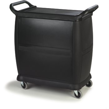 """CC2036DP03 - Small Bussing Cart w/Doors and Panels 18"""" x 36"""" - Black"""