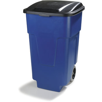 34505014 - Square Rolling Waste Container Trash Can with Hinged Lid 50 Gallon - Blue