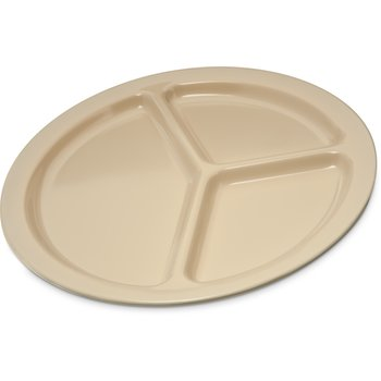 "KL10225 - Kingline™ Melamine 3-Compartment Plate 10"" - Tan"