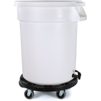 34102202 - Bronco™ Round Mobile Soaking Marinating Solution (Container, Faucet Drain, Dolly, Lid Included) 20 Gallon - White
