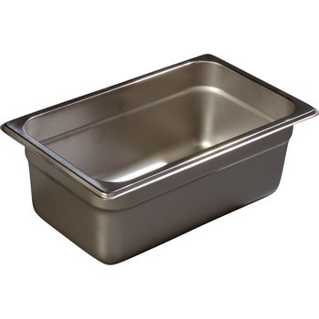"607144 - DuraPan™ Quarter-Size Light Gauge Stainless Steel Steam Table Hotel Pan 4"" Deep"