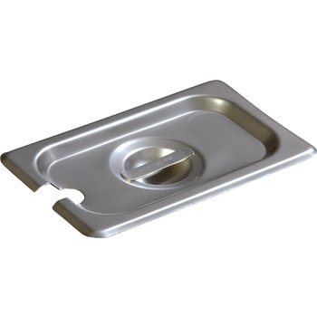 607190CS - DuraPan™ Ninth-Size Stainless Steel Steam Table / Hotel Pan Slotted Handled Cover