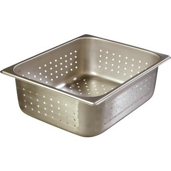 "607124P - DuraPan™ Half-Size Light Gauge Stainless Steel Perforated Steam Table Hotel Pan 4"" Deep"