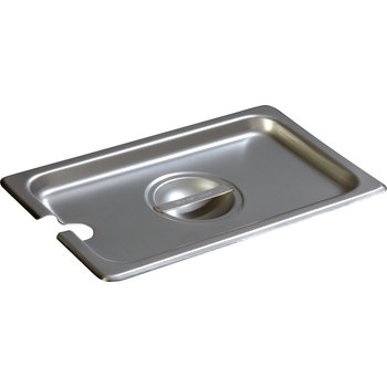 607140CS - DuraPan™ Quarter-Size Stainless Steel Steam Table / Hotel Pan Slotted Handled Cover