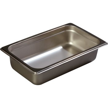 """608142 - DuraPan™ Quarter-Size Heavy Gauge Stainless Steel Steam Table Hotel Pan 2.5"""" Deep - Stainless Steel"""