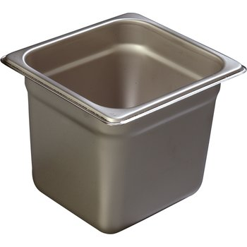 """608166 - DuraPan™ Heavy Gauge One-Sixth Size Pan 6-7/8"""" x 6-1/4"""" - Stainless Steel"""
