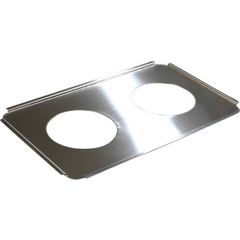"607712 - Full-Size Stainless Steel Steam Table Hotel Pan Round Opening Adapter Plate 6.5"" Openings"