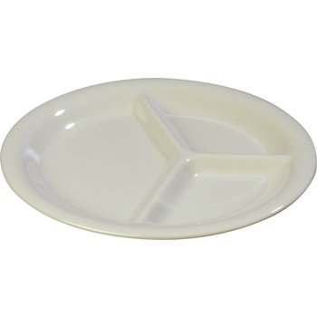 """4300042 - Durus® Melamine Narrow Rim 3-Compartment Plate 10.5"""" - Bone"""