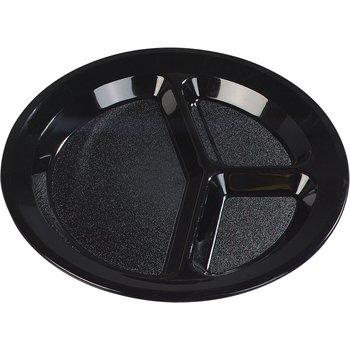 "PCD21103 - Polycarbonate Narrow Rim 3-Compartment Plate 11"" - Black"