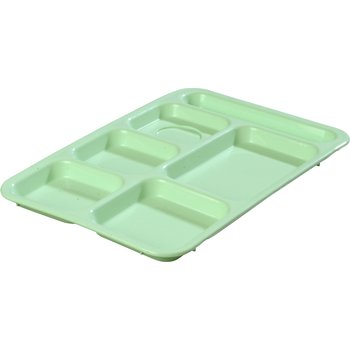 "P614R09 - Right-Hand 6-Compartment Tray 14"" X 10"" - Green"