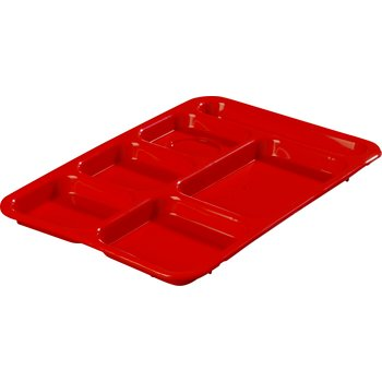 "P614R05 - Right-Hand 6-Compartment Tray 14"" X 10"" - Red"