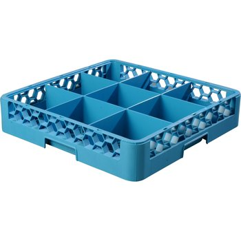 "RG914 - OptiClean™ 9 Compartment Glass Rack 4"" - Carlisle Blue"