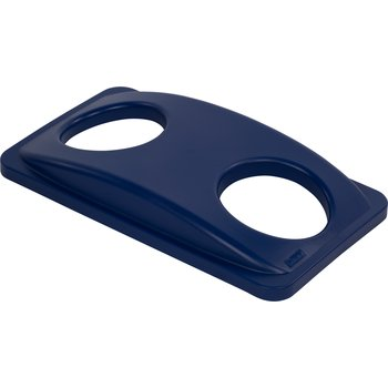 342027REC14 - TrimLine™ Rectangle RECYCLE Lid with Bottle and Can Receptacle 15 and 23 Gallon - Blue