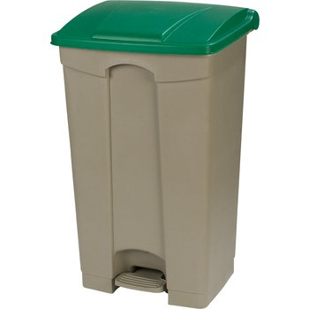 34614609 - Square Step-On Waste Container Trash Can with Hinged Lid 23 Gallon - Green