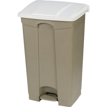 34614602 - Square Step-On Waste Container Trash Can with Hinged Lid 23 Gallon - White
