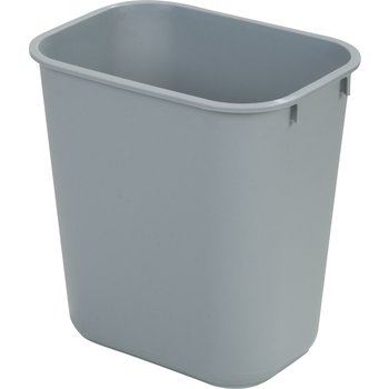34291323 - Small Rectangle Office Wastebasket Trash Can 13 Quart - Gray