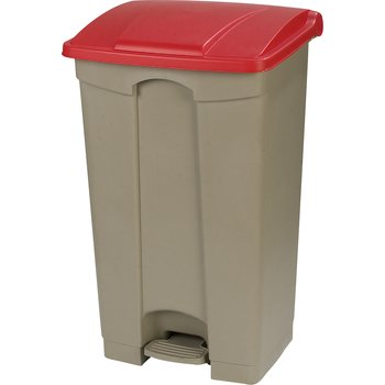 34614405 - Square Step-On Waste Container Trash Can with Hinged Lid 12 Gallon - Red