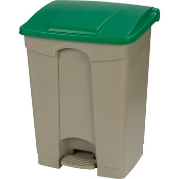 34614509 - Square Step-On Waste Container Trash Can with Hinged Lid 18 Gallon - Green