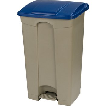 34614614 - Square Step-On Waste Container Trash Can with Hinged Lid 23 Gallon - Blue