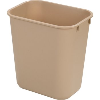 34291306 - Small Rectangle Office Wastebasket Trash Can 13 Quart - Beige