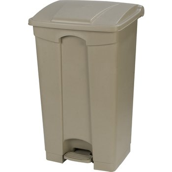 34614406 - Square Step-On Waste Container Trash Can with Hinged Lid 12 Gallon - Beige